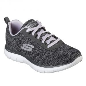Skechers SK12753 Flex Appeal 2 Black/ Grey Lace.   Sizes - 5 to 8  Price - £65.00