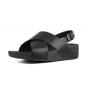 FitFlop K03-001 Lulu Black Cross Back Strap Sandal.  Sizes - Price - £65.00  SOLD OUT