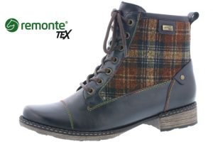 Remonte D4354-14 Navy Check lace zip boot  Sizes - 36 to 41  Price - £85.00 NOW £69.00