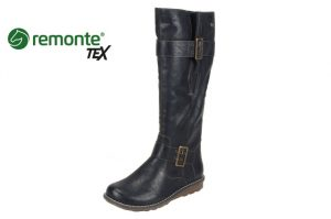 Remonte R1073-02 Black Tall wide leg waterproof boot  Sizes - 37 to 42  Price - £87.00 NOW £75.00