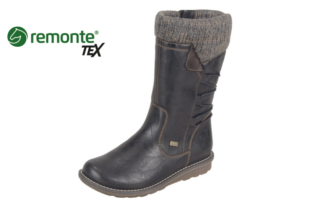 Remonte R1094-02 Black Mid Tex  zip boot    Size - Sold out.   Price - £79 NOW £45