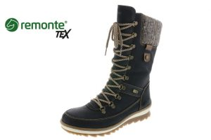 Remonte R4371-02 Black mid waterproof lace zip boot  Sizes - 37 to 41  Price - £85.00 NOW £69.00