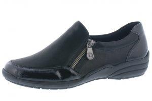 Remonte R7633-02 Black patent combi zip shoe  Sizes - 37 to 41  Price - £65.00 NOW £55.00