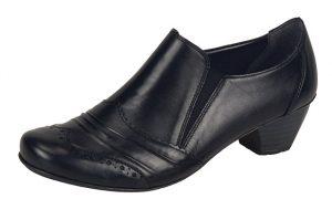 Rieker 41730-00 Black brogue heel shoe Sizes - 36 to 42 Price - £59.00 NOW £49.00