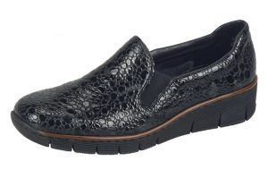 Rieker 53766-45 Black patent wedge shoe Sizes - 37 to 42 Price - £49.00 NOW £45.00