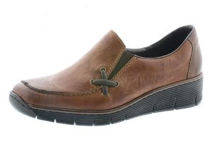 Rieker 53783-22 Chestnut tan wedge shoe Sizes - 37 to 42 Price - £55.00 NOW £49.00
