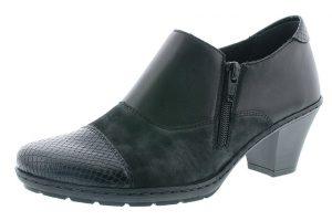 Rieker 57173-00 Black zip heel shoe Sizes - 36 to 41 Price - £57.00 NOW £49.00