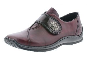 Rieker L1760-35 Wine velcro strap shoe Sizes - 36 to 42 Price - £59.00 NOW £55.00