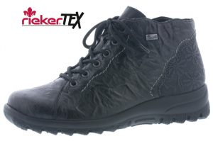 Rieker L7134-00 Black waterproof lace zip ankle boot  SIzes - 37 to 42  Price - £67.00 NOW £59.00