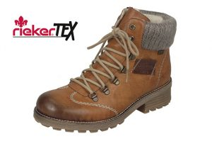 Rieker Z0444-24 Tan waterproof lace zip boot Sizes - 37 to 41 Price - £75.00 NOW £65.00