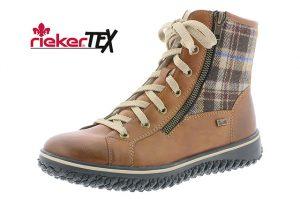 Rieker Z4210-24 Tan tartan waterproof lace zip boot Sizes - 37 to 41 Price - £67.00 NOW £59.00