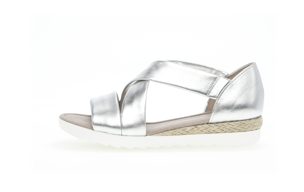 Gabor 42.711.10 Promise Silver cross strap sandal Sizes - 4 to 7 Price - £85.00 (15% OFF) Now £72.00