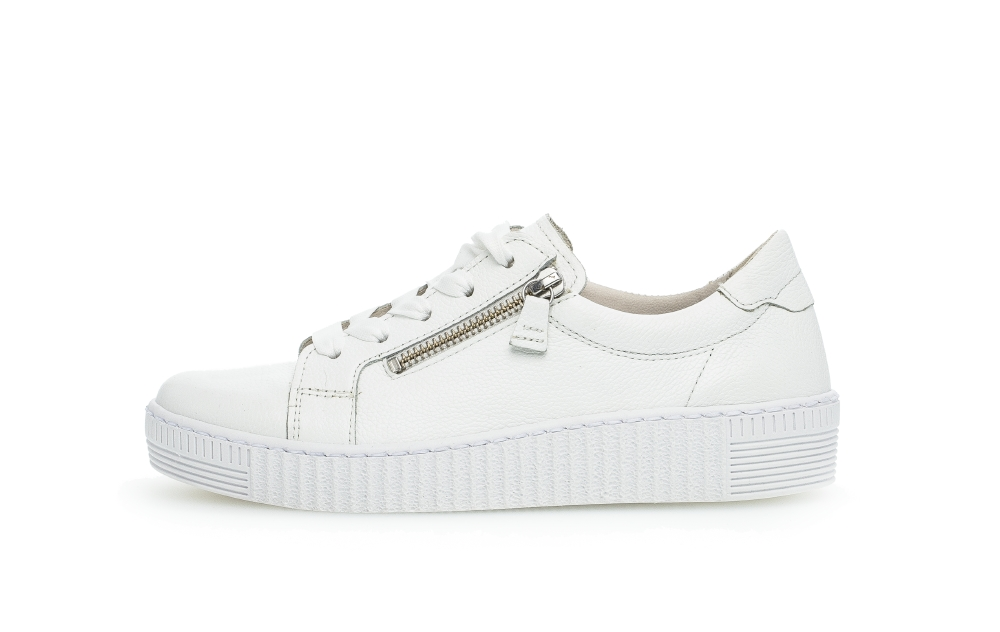 Gabor 43.334.21 Wisdom White leather twin zip lace shoe Sizes - 4 to 7 Price - £89.00 (15% OFF) Now £75.00