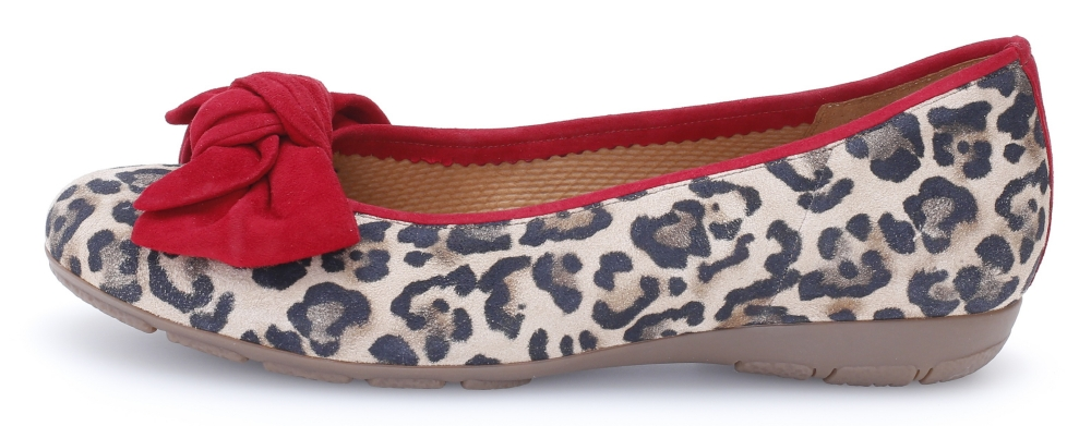 Gabor 44.163.35 Redshank red natural print bow pump Sizes - 4 to 7 Price - £95.00