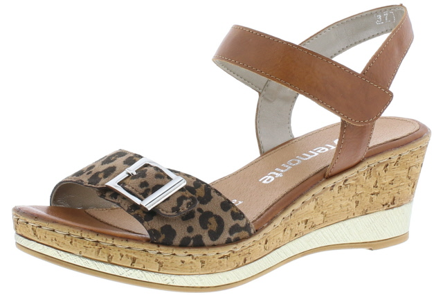 Remonte D4754-24 Tan leopard twin strap wedge sandal  Sizes - 37 to 41  Price - £57.00 (20% OFF) Now £45.00