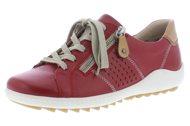 Remonte R1417-33 red tan zip lace shoe  Sizes - 37 to 41   Price - £72.00 (20% off) Now £57.00