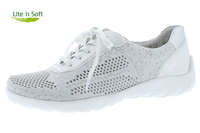 Remonte R3503-80 white silver textile lace shoe  Sizes - 37 to 42   Price - £65.00 (20% off) Now £52.00