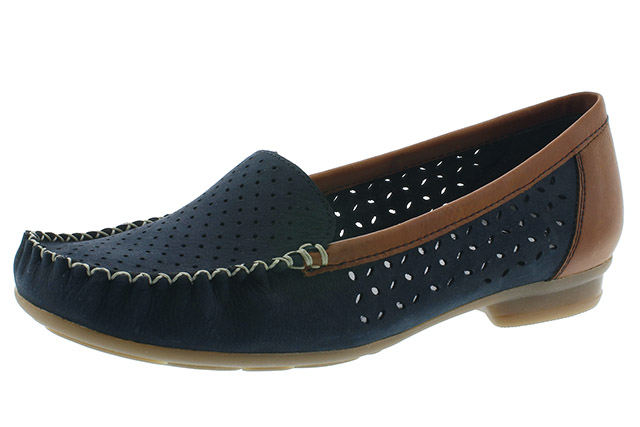 Rieker 40086-14 navy tan moccasin shoe Sizes - 37 to 41 Price - £55.00 (20% off) £44.00