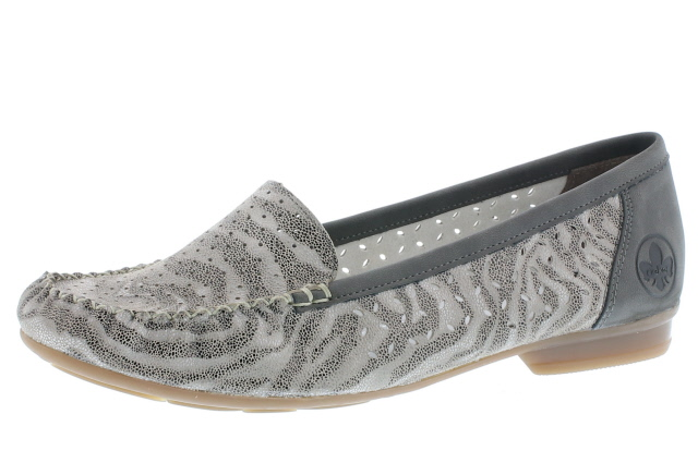 Rieker 40086-42 Grey stripe moccasin Sizes - 36 to 41  Price - £55.00 (20% off) £44.00