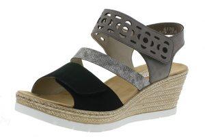 Rieker 619D1-00 Black silver cross strap sandal  Sizes 37-41  Price - £55.00