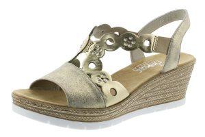 Rieker 619D6-62 pewter metllic wedge sandal Sizes - 36 to 41 Price - £57.00