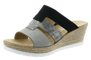 Rieker 619P7-40 black silver wedge mule Sizes - 37 to 42 Price - £49.00