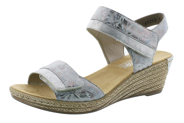 Rieker 62470-91 silver twin strap wedge sandal Sizes - 36 to 41 Price - £57.00 (20% off) £45.00