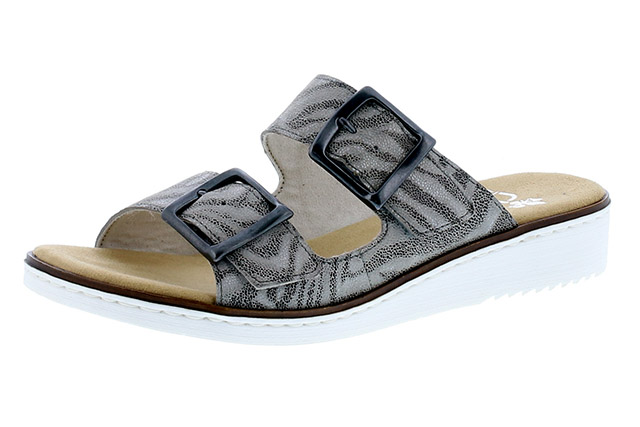 Rieker 63694-42 Grey stripe twin strap mule  Sizes - 37 to 42  Price - £52.00 (20% off) £41.00