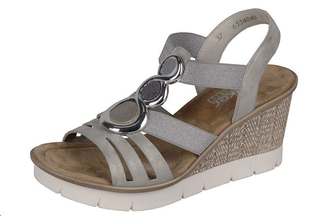 Rieker 65540-40 grey silver wedge sandal Sizes - 37 to 41 Price - £52.00 (20% off) £41.00