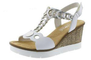 Rieker 655H4-80 white silver wedge sandal Sizes - 36 to 41 Price - £55.00
