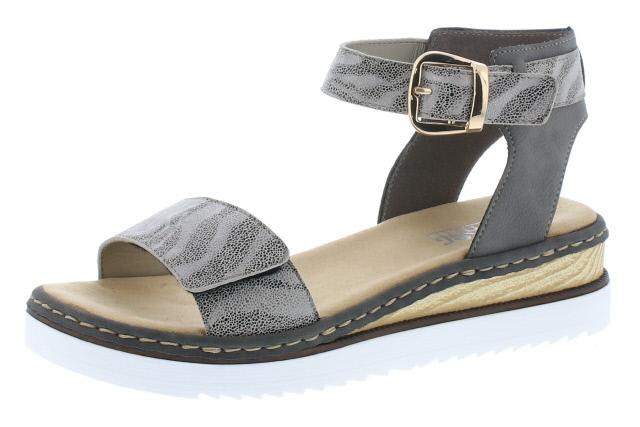 Rieker 67952-42 Grey stripe ankle strap sandal  Sizes - 37 to 42  Price - £57.00