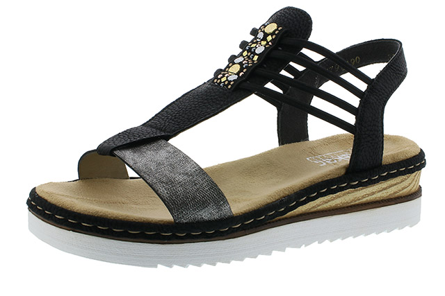 Rieker 679L1-90 black elastic sandal Sizes - 37 to 42 Price - £55.00 (20% off) £44.00