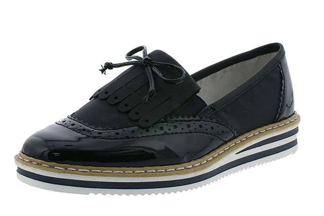 Rieker N0273-14 navy fringe patent shoe Sizes - 37 to 41 Price - £55.00 (20% off) £44.00