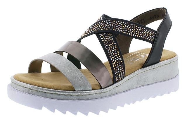 Rieker V4479-80 silver black strap sandal Sizes - 37 to 41 Price - £52.00