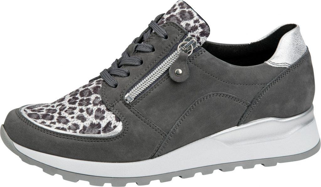 Waldlaufer H64007 Hiroko Soft grey print lace zip shoe Sizes - 5 to 8 Price - £72.00
