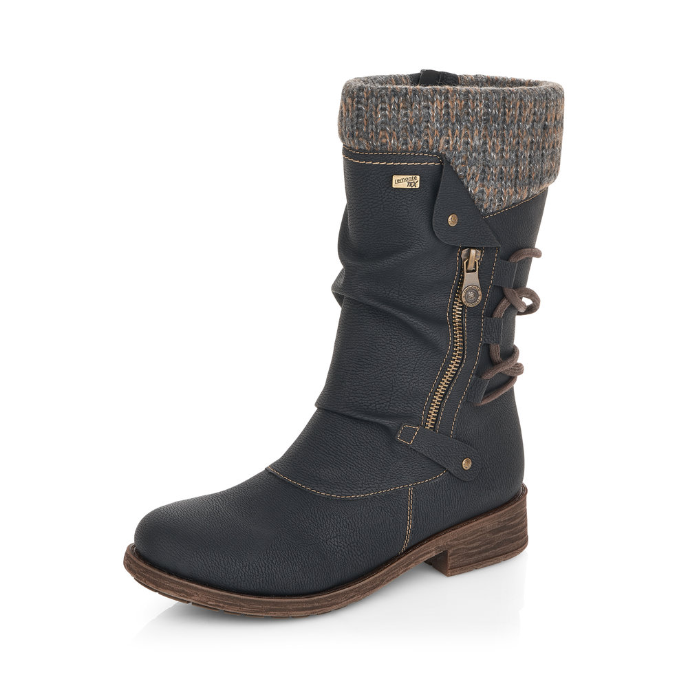 Remonte D8070-01 Black Mid Tex zip boot   Size - 37 only   Price - £79 NOW £59