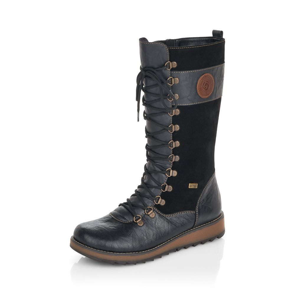 Remonte D8887-01 Black Tall zip/lace boot  Size - Sold Out  Price - £95 NOW £59