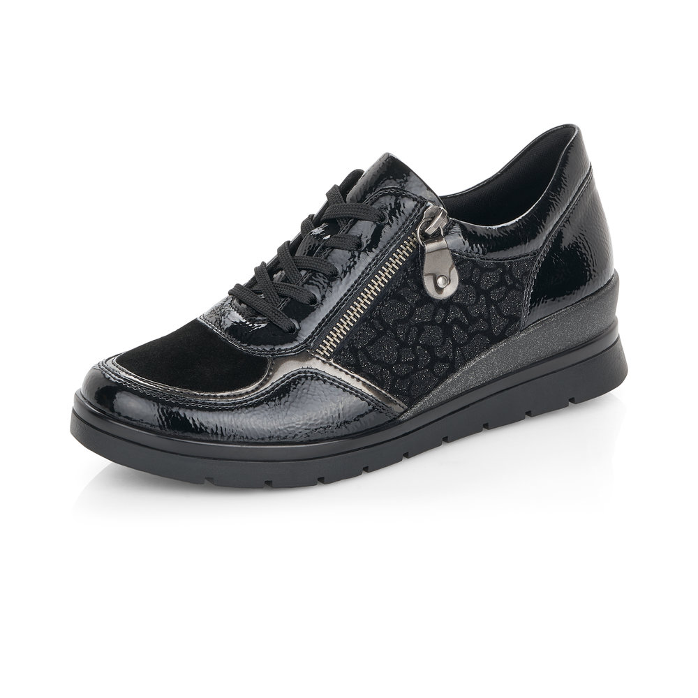 Remonte R0701-02 Black zip/lace shoe   Sizes - 37, 39, 40 and  41.   Price - £69 NOW £49
