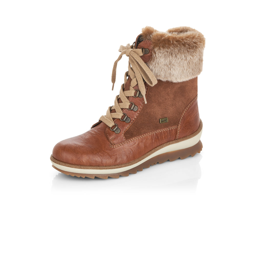 Remonte R4375-23 Brown Tex zip/lace boot    Size - Sold Out    Price - £85 NOW £59