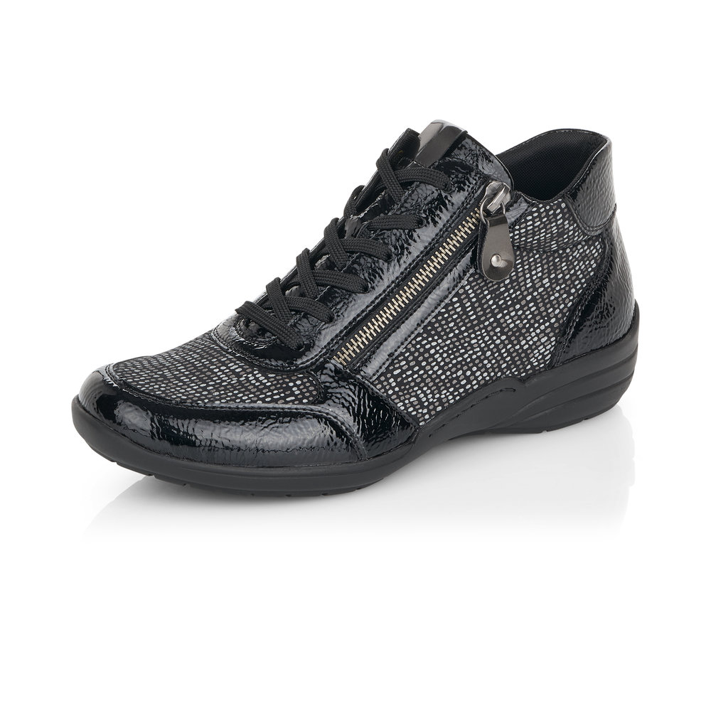 Remonte R7676-02 Black multi zip/lace boot   Sizes - 38, 40 and 41.    Price - £65 NOW £49