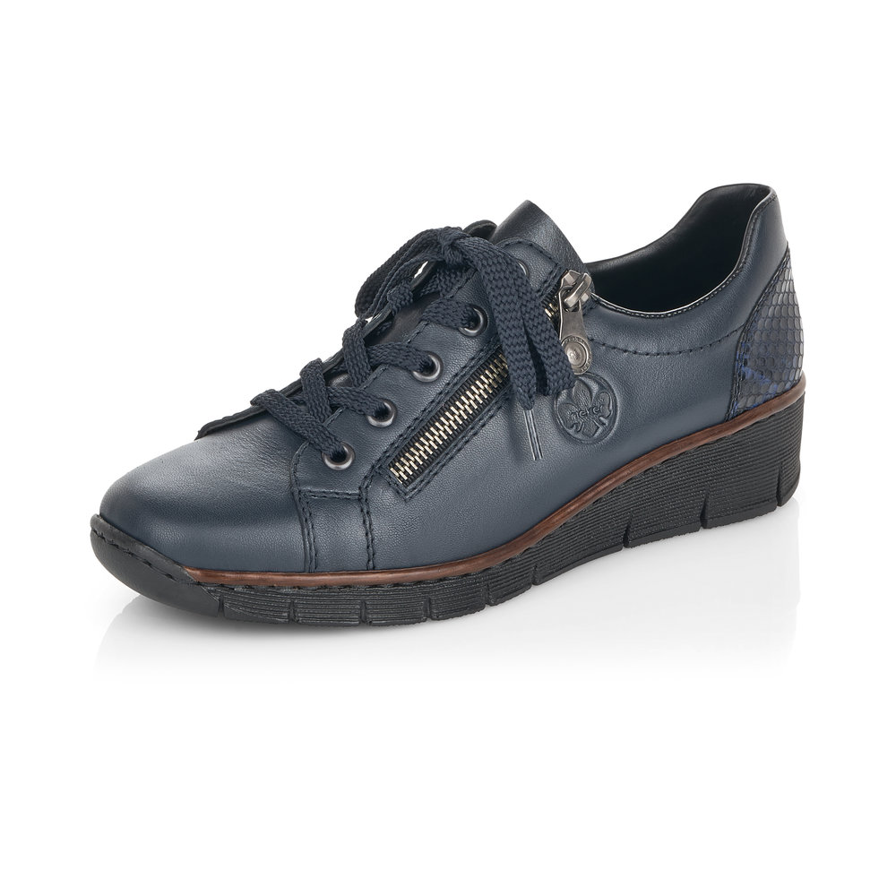 Rieker 53702-14 Blue zip/lace shoe  Sizes - 37 to 42    Price - £59