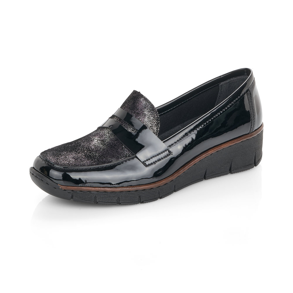 Rieker 53732-01 Black patent  slip-on shoe  Sizes - 37, 39 and 40   Price - £52