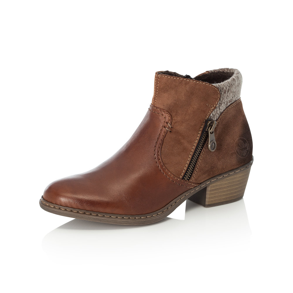 Rieker 55591-24 Tan zip boot    Sizes - 37, 38, 40 and 41   Price - £65 NOW £45