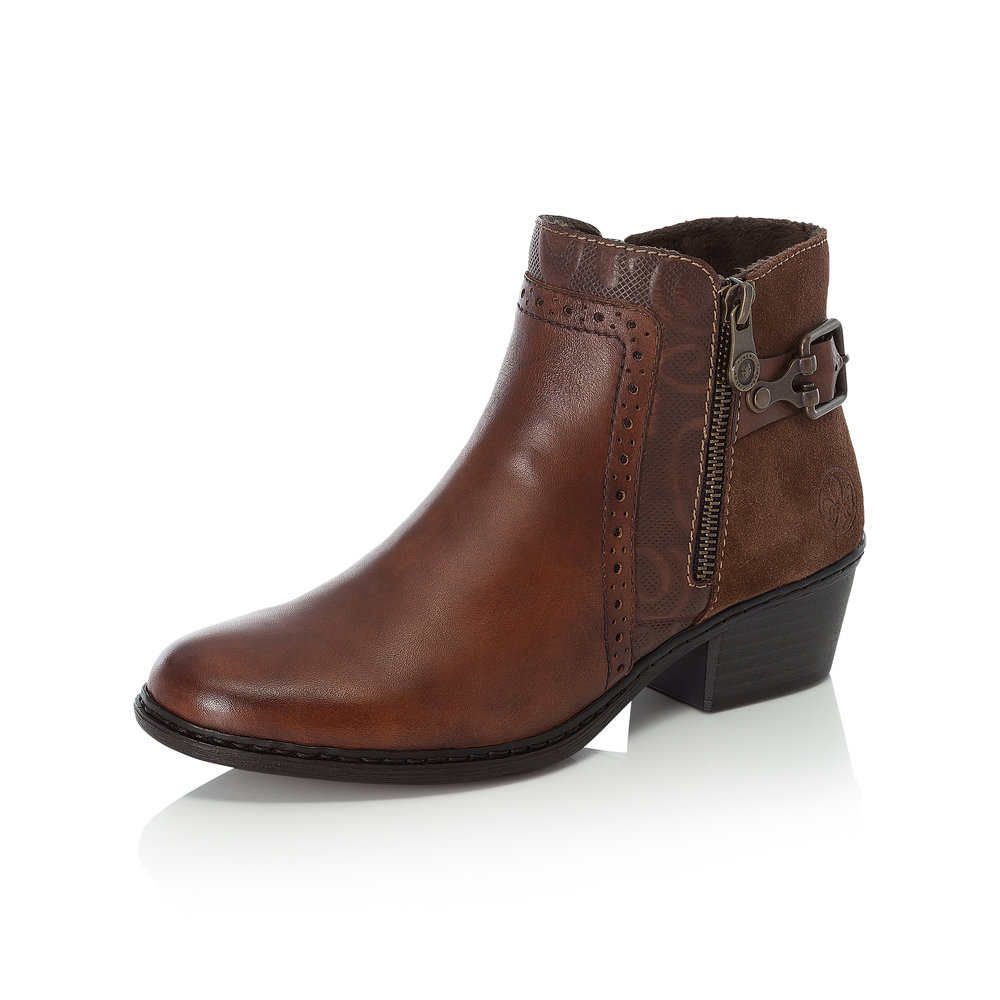 Rieker 75585-24 Brown zip boot Sizes - 37, 40, 41 and 42.  Price - £67 NOW £45