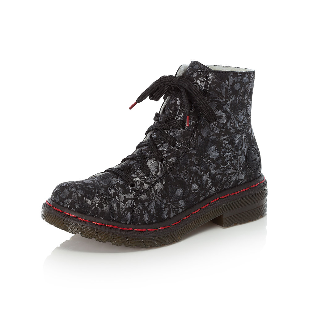 Rieker 76229-90 Black silver zip/lace boot   Sizes - 37 and 40.   Price - £62 NOW £49