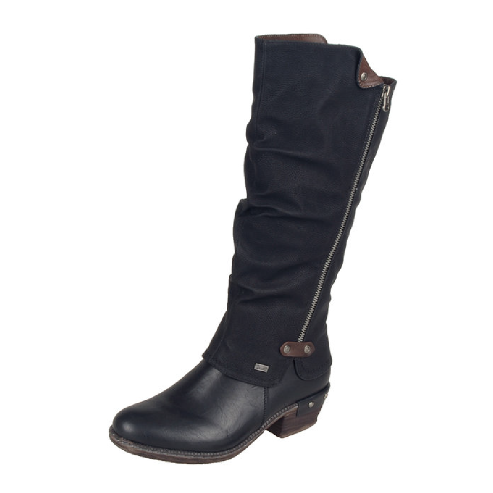 Rieker 93655-00 Black long Tex zip boot   Sizes - 41 only.  Price - £77 NOW £49