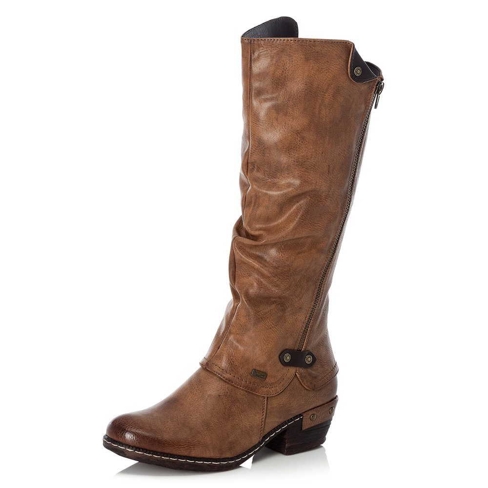 Rieker 93655-26 Tan Tex  zip long boot   Size - 40 only.   Price - £77 NOW £49
