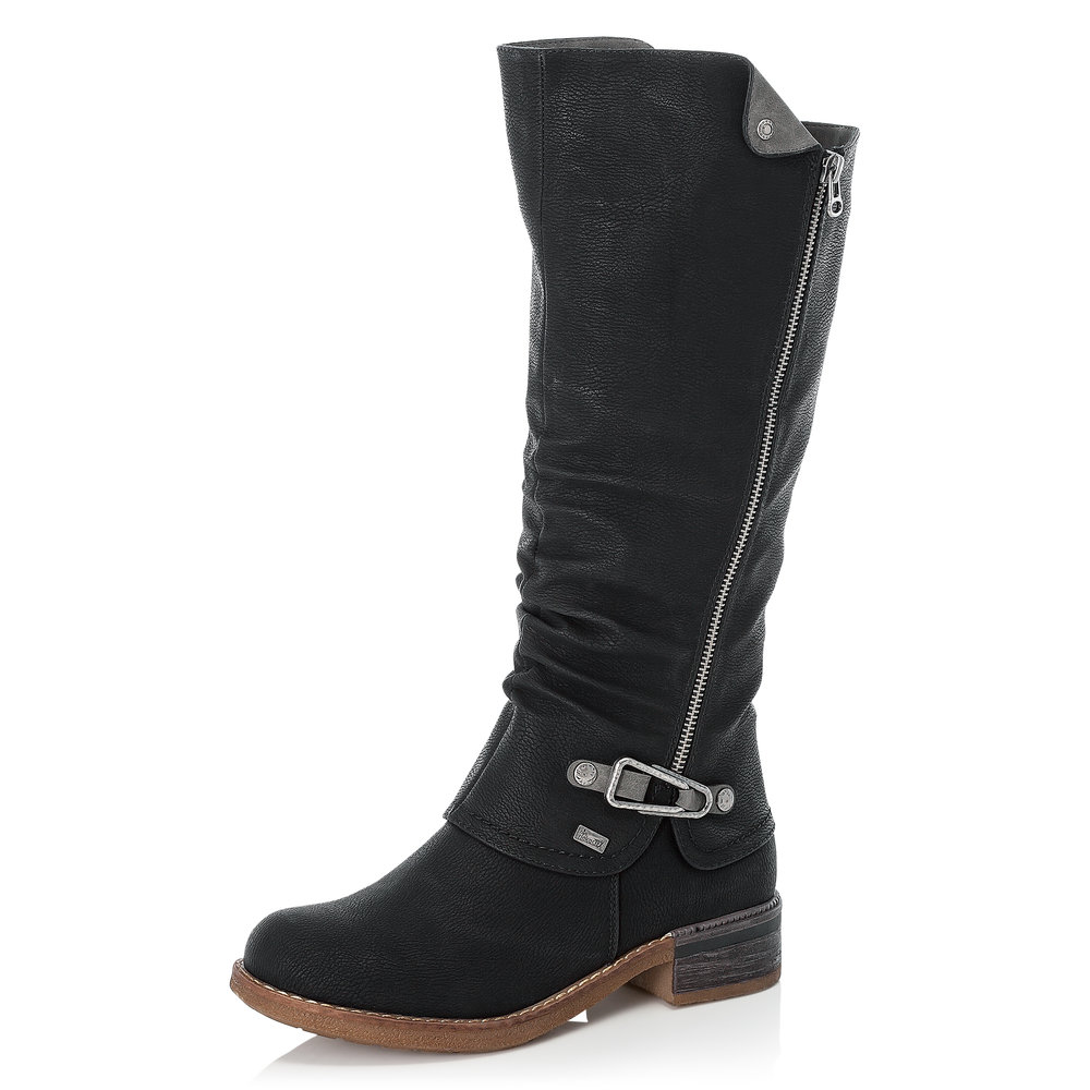 Rieker 94652-00 Black Tex zip long boot  Sizes - 37 and 38.   Price - £77 NOW £49