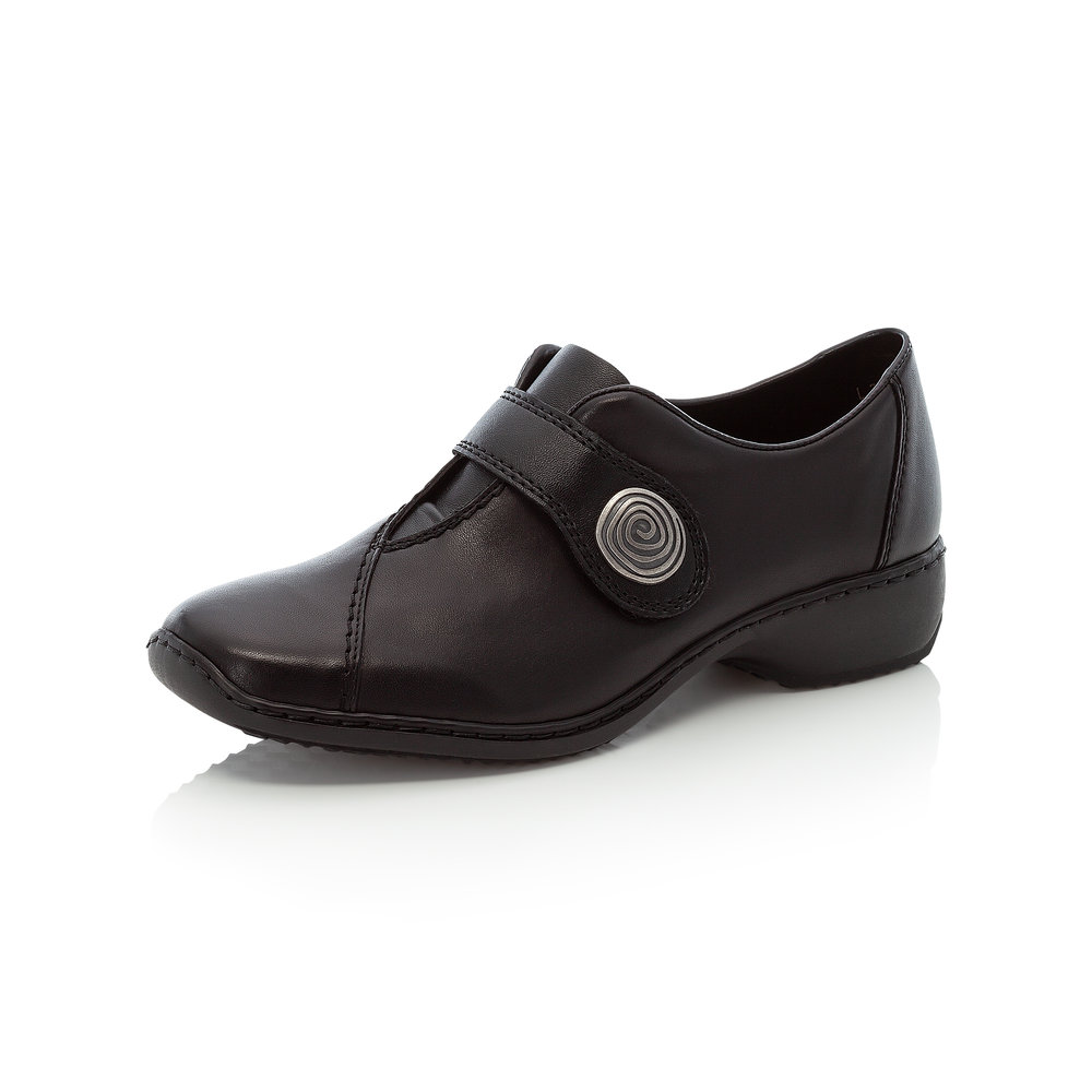 Rieker L3870-02 Black strap shoe   Sizes - 38 and 41 only.   Price - £57