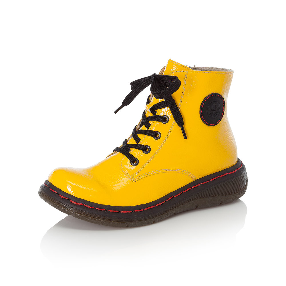 Rieker Y3200-68 Yellow patent zip/lace boot   Size - Sold Out.    Price - £62 NOW £49